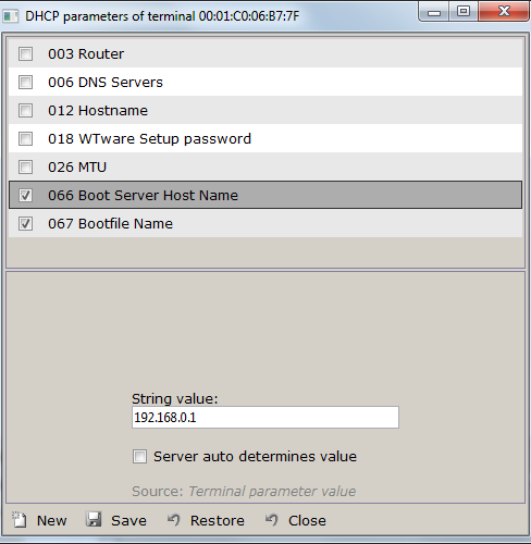 DHCP configuration - Windows Terminal Ware